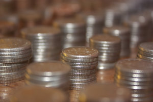 Stack on coins in rows