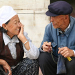 Old Asian Couple Talking