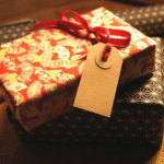 Wrapped Christmas Present with Tag